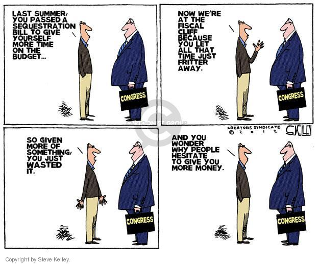 Cartoonist Steve Kelley  Steve Kelley's Editorial Cartoons 2012-12-27 negotiation