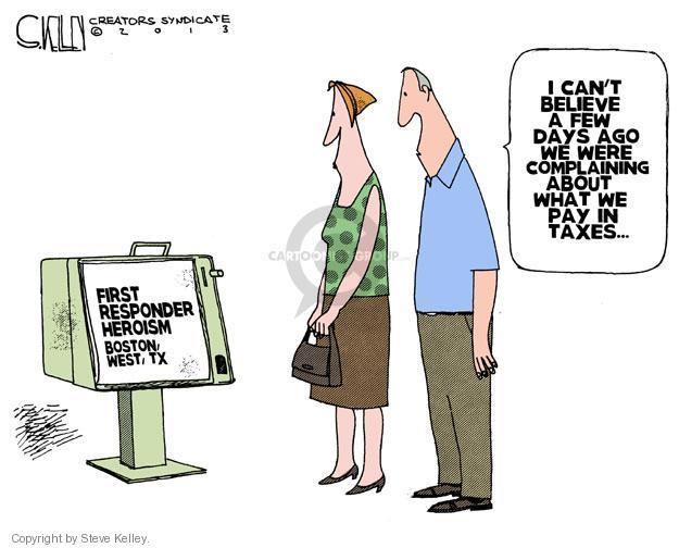 Steve Kelley  Steve Kelley's Editorial Cartoons 2013-04-18 death and taxes