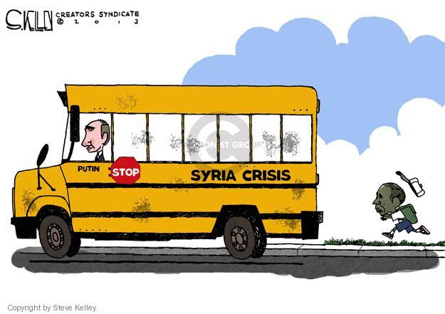 Cartoonist Steve Kelley  Steve Kelley's Editorial Cartoons 2013-09-13 Barack Obama Vladimir Putin Syria