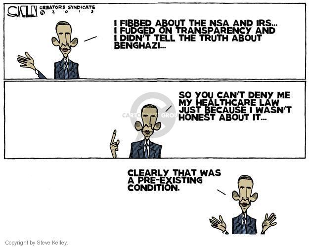 Steve Kelley  Steve Kelley's Editorial Cartoons 2013-11-14 Obamacare