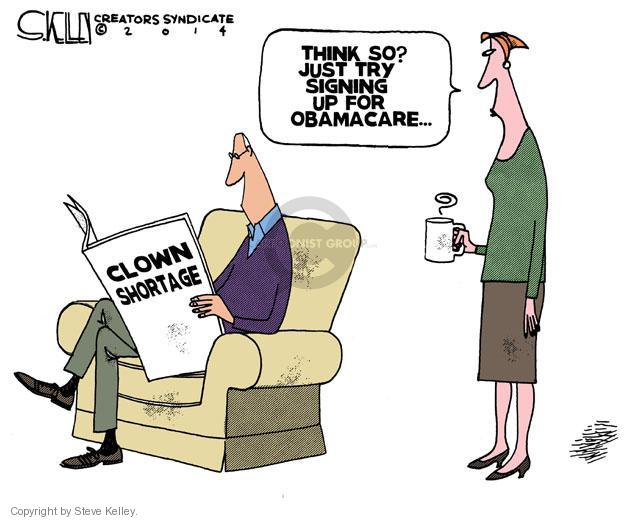 Steve Kelley  Steve Kelley's Editorial Cartoons 2014-02-20 Obamacare