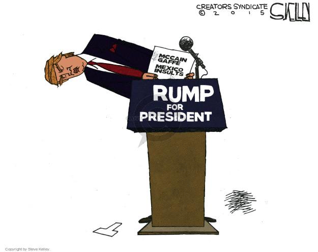 Cartoonist Steve Kelley  Steve Kelley's Editorial Cartoons 2015-07-20 Trump Immigration