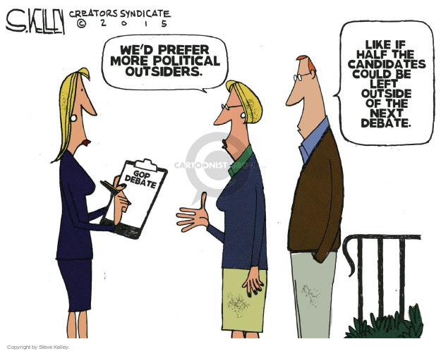 Steve Kelley  Steve Kelley's Editorial Cartoons 2015-09-17 republican debate