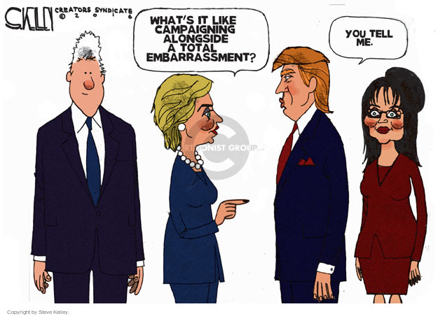 Steve Kelley  Steve Kelley's Editorial Cartoons 2016-01-21 Donald Trump Sarah Palin