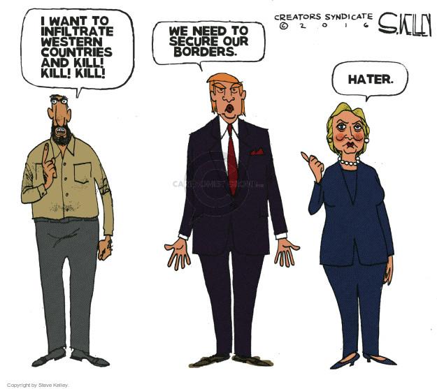 Cartoonist Steve Kelley  Steve Kelley's Editorial Cartoons 2016-03-24 Trump Immigration