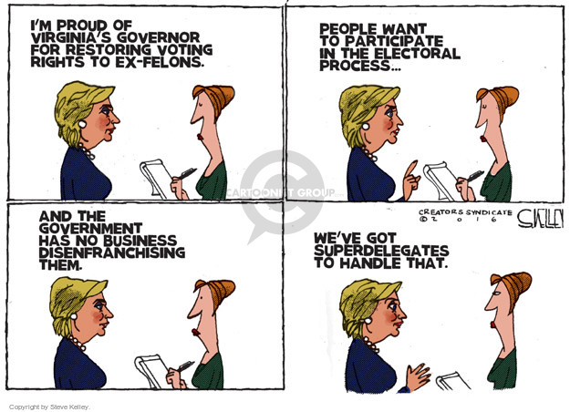 Steve Kelley  Steve Kelley's Editorial Cartoons 2016-04-26 voting rights
