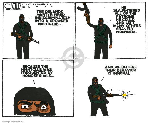 Cartoonist Steve Kelley  Steve Kelley's Editorial Cartoons 2016-06-15 gun massacre