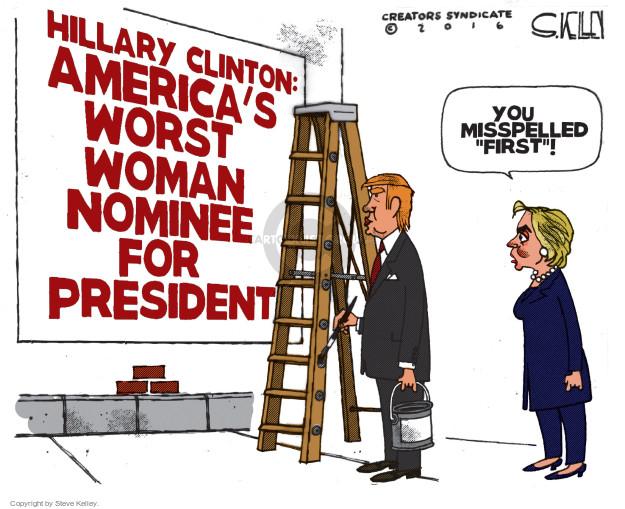 Cartoonist Steve Kelley  Steve Kelley's Editorial Cartoons 2016-08-01 election