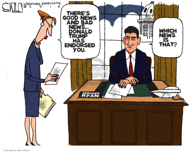 Cartoonist Steve Kelley  Steve Kelley's Editorial Cartoons 2016-08-08 Speaker of the House