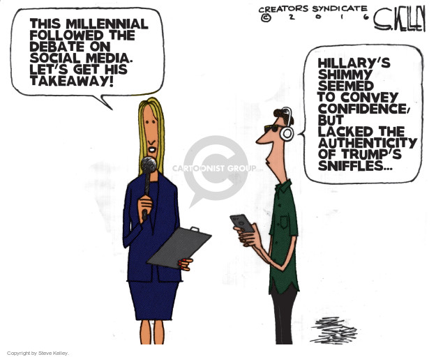 This Millennial followed the debate on social media. Lets get his takeaway! Hillarys shimmy seemed to convey confidence, but lacked the authenticity of Trumps sniffles …
