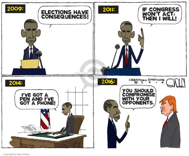 Steve Kelley  Steve Kelley's Editorial Cartoons 2016-11-15 Barack Obama