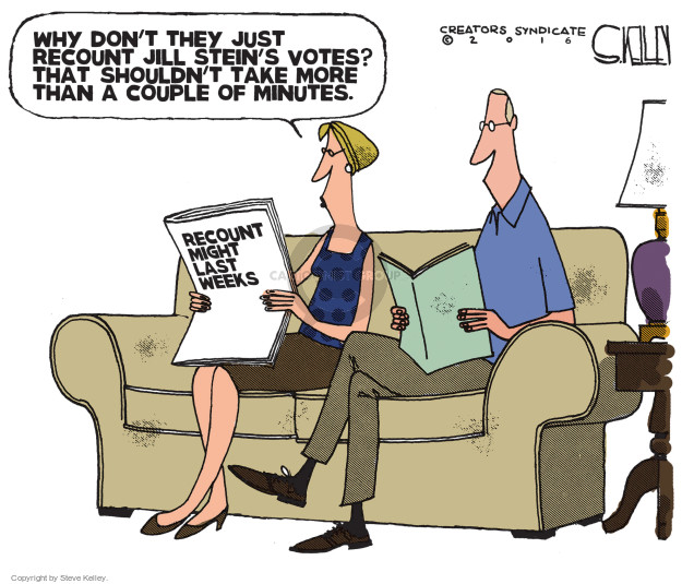 Steve Kelley  Steve Kelley's Editorial Cartoons 2016-11-29 recount
