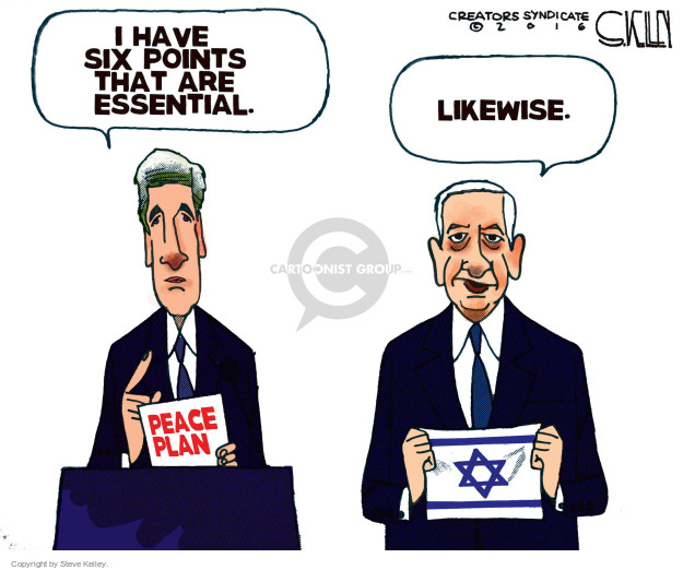 Steve Kelley  Steve Kelley's Editorial Cartoons 2016-12-29 United States and Israel