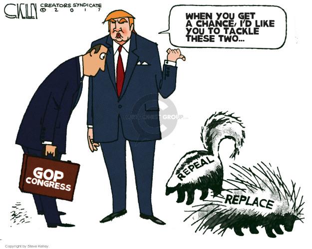 Cartoonist Steve Kelley  Steve Kelley's Editorial Cartoons 2017-02-14 republican president