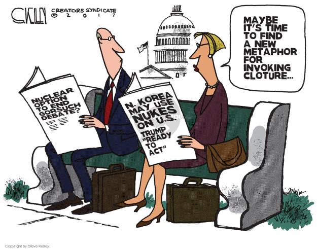 Cartoonist Steve Kelley  Steve Kelley's Editorial Cartoons 2017-04-04 weaponry