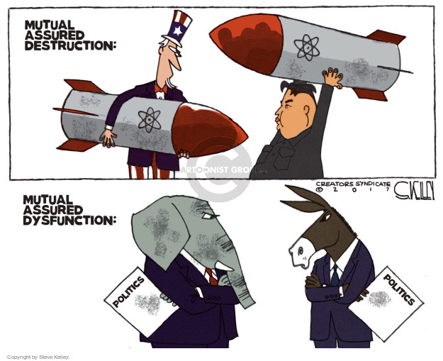 Cartoonist Steve Kelley  Steve Kelley's Editorial Cartoons 2017-09-05 weapon