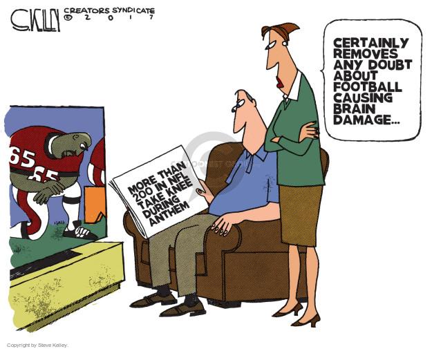 Cartoonist Steve Kelley  Steve Kelley's Editorial Cartoons 2017-09-26 football