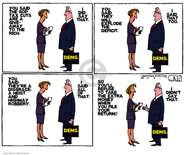 Cartoonist Steve Kelley  Steve Kelley's Editorial Cartoons 2017-12-26 political party