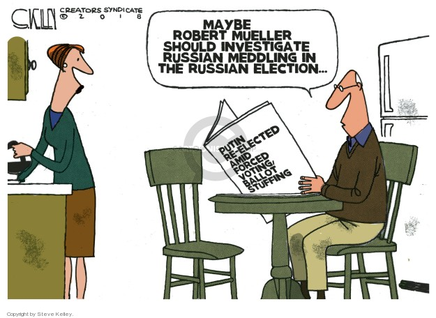 Cartoonist Steve Kelley  Steve Kelley's Editorial Cartoons 2018-03-20 investigation