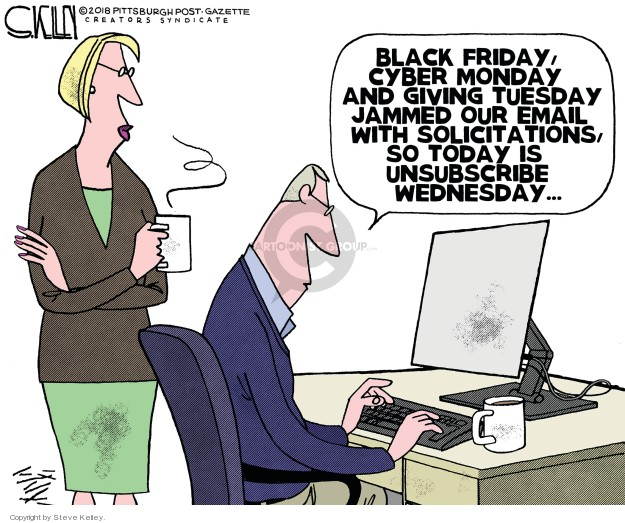 Steve Kelley  Steve Kelley's Editorial Cartoons 2018-11-28 Christmas shopping