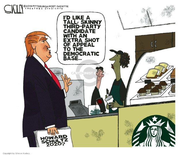 Cartoonist Steve Kelley  Steve Kelley's Editorial Cartoons 2019-01-30 political party