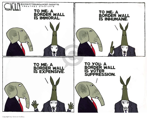 Cartoonist Steve Kelley  Steve Kelley's Editorial Cartoons 2019-02-04 left-wing