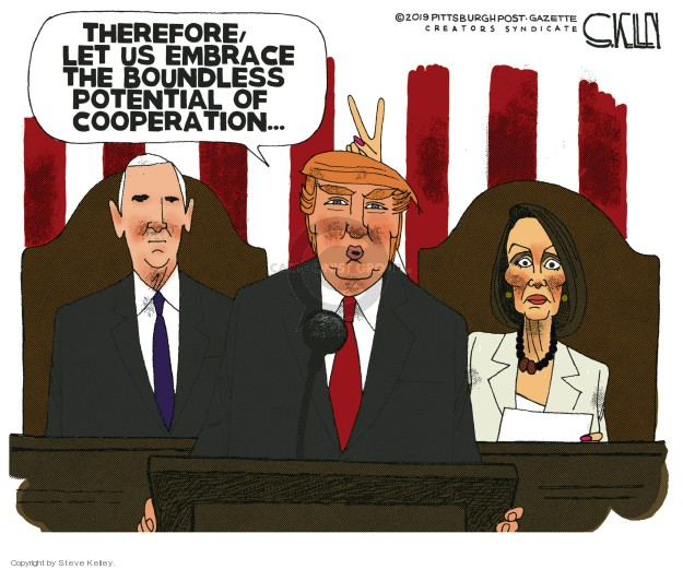 Cartoonist Steve Kelley  Steve Kelley's Editorial Cartoons 2019-02-07 speaker