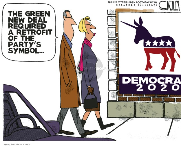 Cartoonist Steve Kelley  Steve Kelley's Editorial Cartoons 2019-02-18 political party