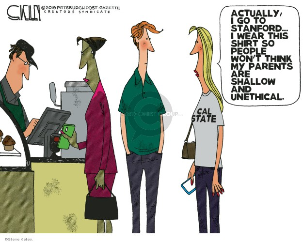 Steve Kelley  Steve Kelley's Editorial Cartoons 2019-03-17 bribery