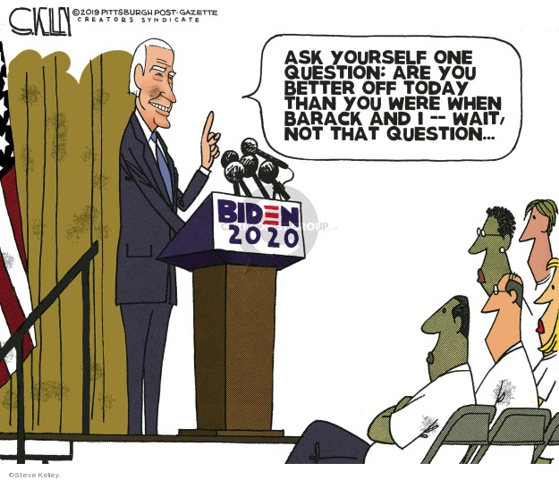 Steve Kelley  Steve Kelley's Editorial Cartoons 2019-04-29 Obama Biden