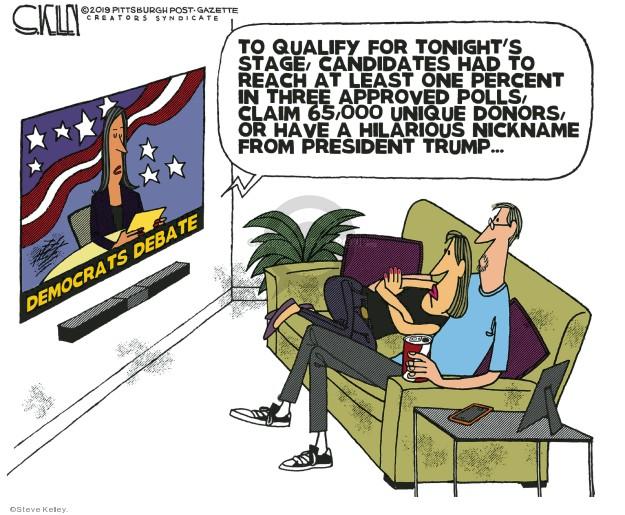 Cartoonist Steve Kelley  Steve Kelley's Editorial Cartoons 2019-06-26 debate