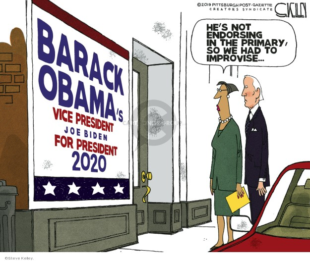 Steve Kelley  Steve Kelley's Editorial Cartoons 2019-07-10 Obama Biden