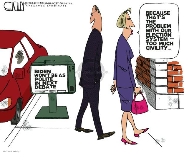 Cartoonist Steve Kelley  Steve Kelley's Editorial Cartoons 2019-07-29 Joe Biden