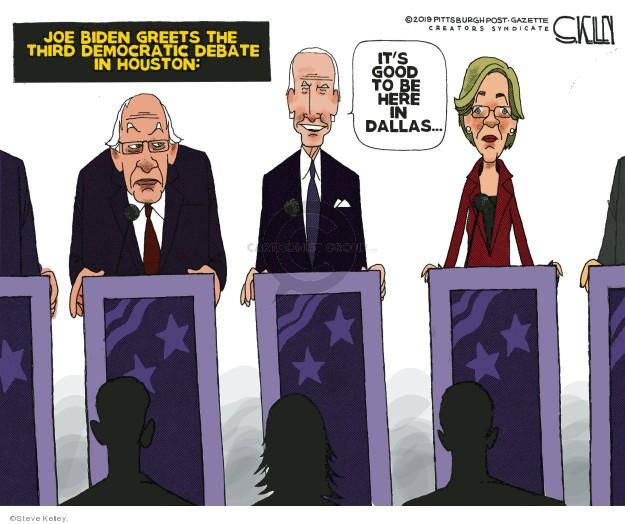 Cartoonist Steve Kelley  Steve Kelley's Editorial Cartoons 2019-08-30 debate