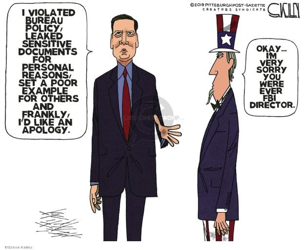 Cartoonist Steve Kelley  Steve Kelley's Editorial Cartoons 2019-09-01 FBI