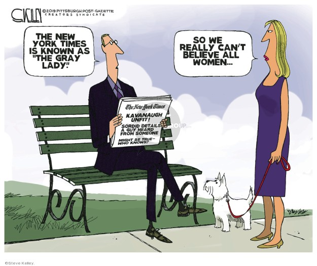 Cartoonist Steve Kelley  Steve Kelley's Editorial Cartoons 2019-09-20 guy