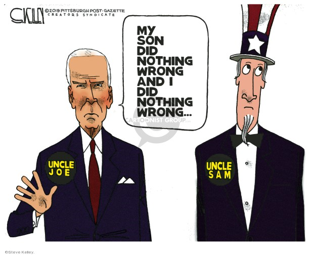 Steve Kelley  Steve Kelley's Editorial Cartoons 2019-10-18 Hunter Biden