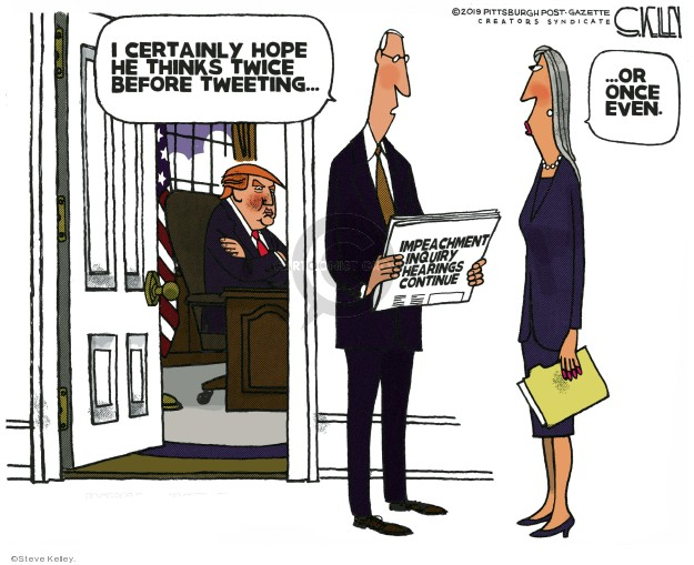 Steve Kelley  Steve Kelley's Editorial Cartoons 2019-11-20 impeachment