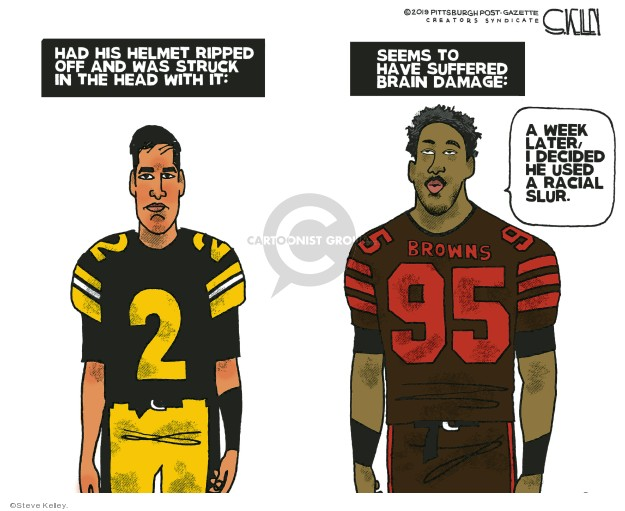 Steve Kelley  Steve Kelley's Editorial Cartoons 2019-11-24 football player
