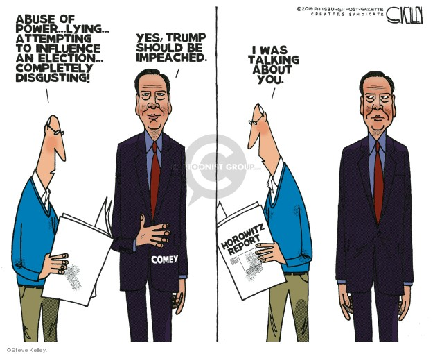 Cartoonist Steve Kelley  Steve Kelley's Editorial Cartoons 2019-12-11 impeachment