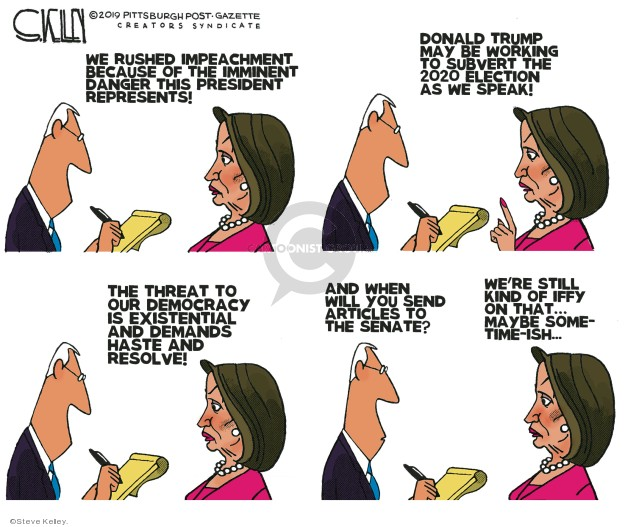 Steve Kelley  Steve Kelley's Editorial Cartoons 2019-12-20 2020 election