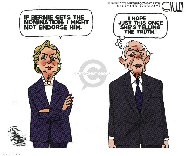 Steve Kelley  Steve Kelley's Editorial Cartoons 2020-01-22 Hillary Clinton and Bernie Sanders
