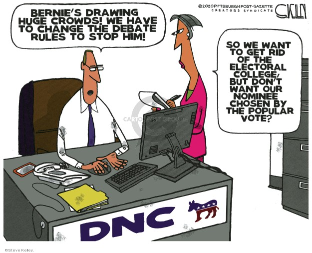 Steve Kelley  Steve Kelley's Editorial Cartoons 2020-02-04 2020 election debate