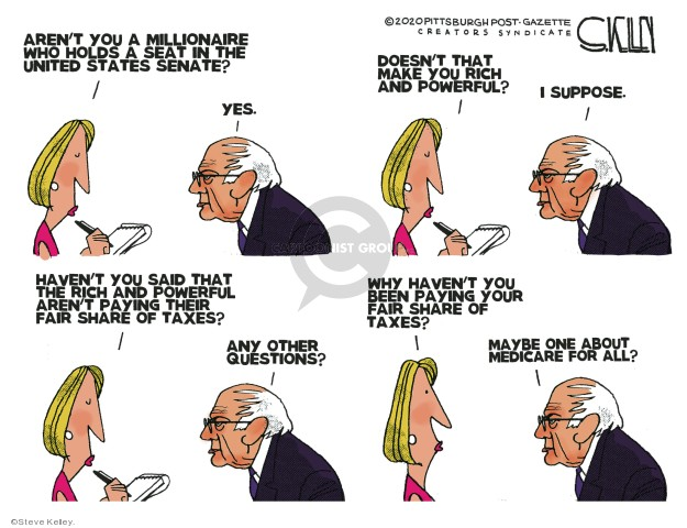 Cartoonist Steve Kelley  Steve Kelley's Editorial Cartoons 2020-02-25 tax