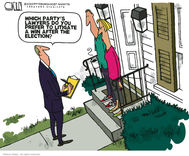 Steve Kelley  Steve Kelley's Editorial Cartoons 2020-09-27 2020 election