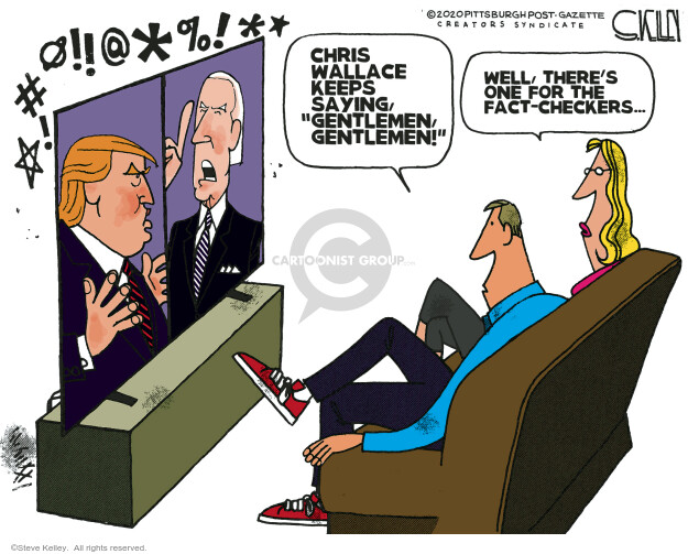 Steve Kelley  Steve Kelley's Editorial Cartoons 2020-10-01 2020 election Democratic debate