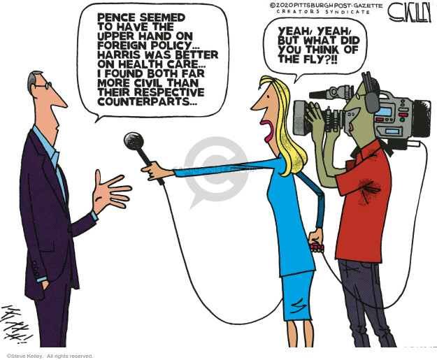 Steve Kelley  Steve Kelley's Editorial Cartoons 2020-10-09 2020 election debate