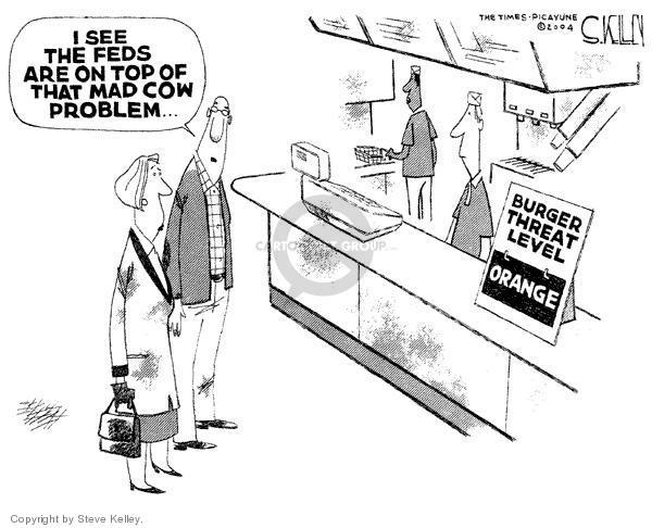 Cartoonist Steve Kelley  Steve Kelley's Editorial Cartoons 2004-01-02 fast food