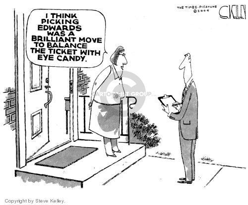Steve Kelley  Steve Kelley's Editorial Cartoons 2004-07-09 presidential approval