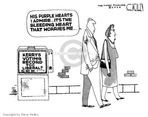 Cartoonist Steve Kelley  Steve Kelley's Editorial Cartoons 2004-08-13 issue policy